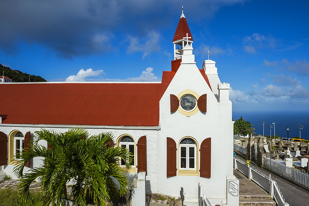 Traditional houses in Windwardside, Saba, Caribbean, Netherland Antilles