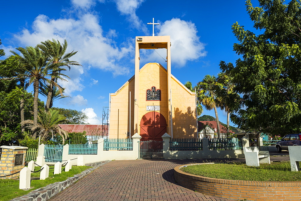 Church, Oranjestad, in the capital of St. Eustatius, Statia, Netherland Antilles, West Indies, Caribbean, Central America