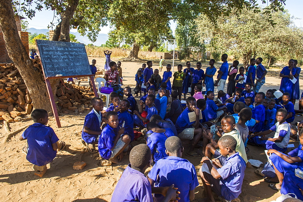 Primary school on a dusty street with many children, Liwonde National Park, Malawi, Africa