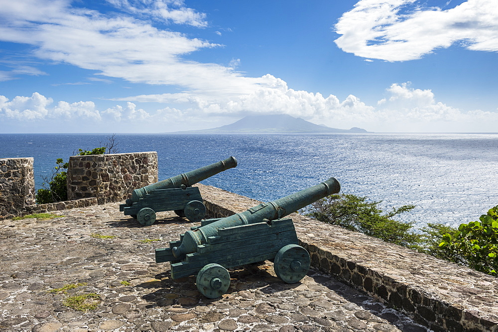Old cannons on the southern coastline of St. Eustatius, Statia, Netherland Antilles, West Indies, Caribbean, Central America