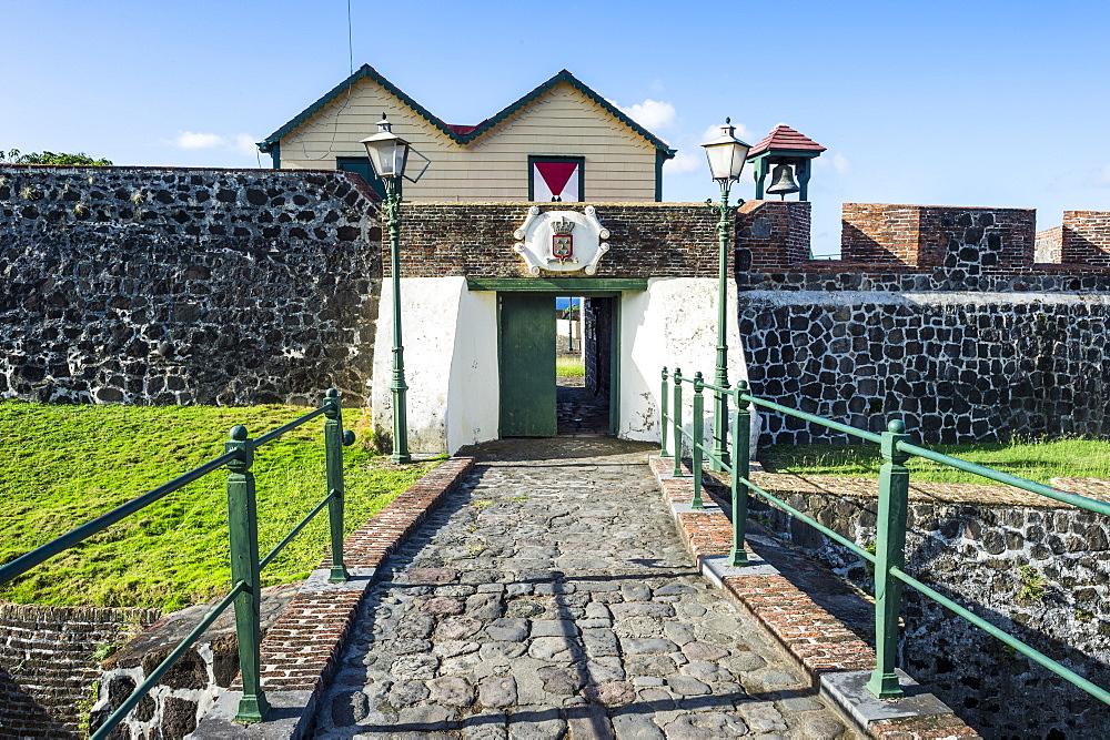Entrance of Fort Oranje, Oranjestad capital of St. Eustatius, Statia, Caribbean, Netherland Antilles - 1184-1167