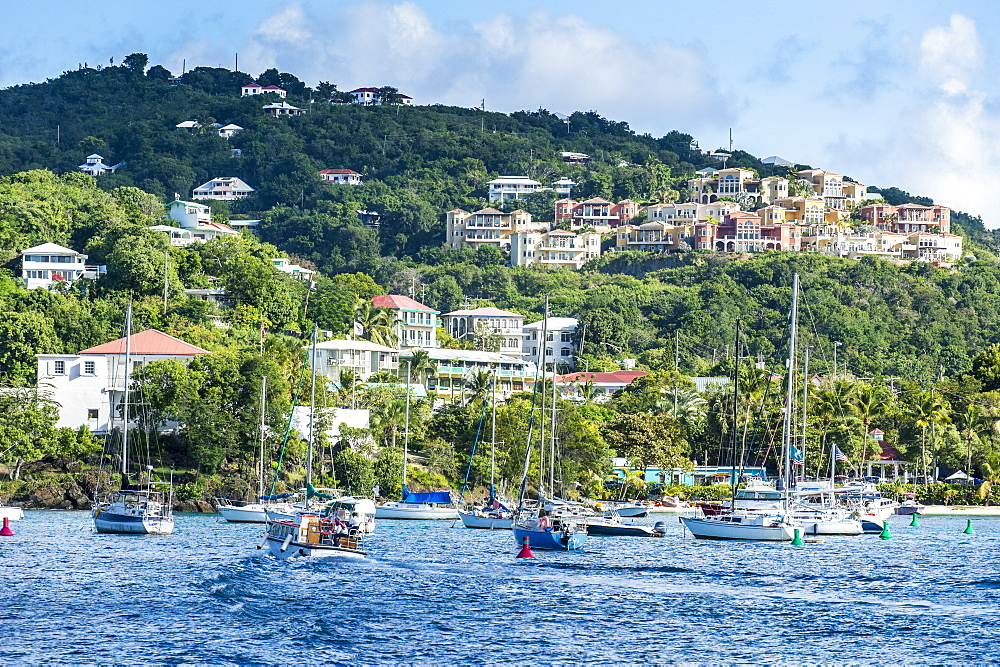 Sailing boats in Cruz Bay, St. John, Virgin Islands National Park, US Virgin Islands, West Indies, Caribbean, Central America