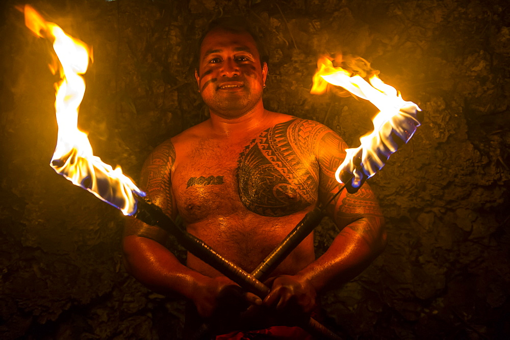 Local fire dancer in the Matavai Resort, Niue, South Pacific, Pacific