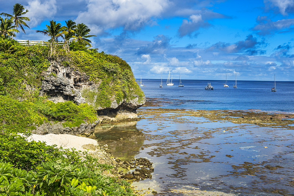 Sailing boats in the harbour of Niue, South Pacific