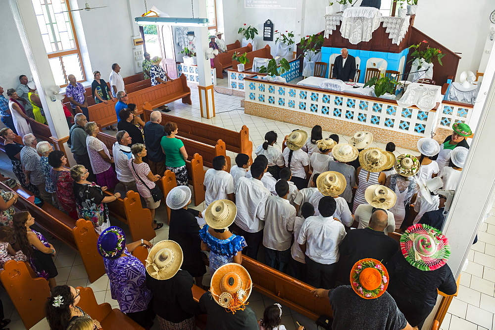 Women with traditional hats at a church service, Rarotonga, Rarotonga and the Cook islands, South Pacific, Pacific