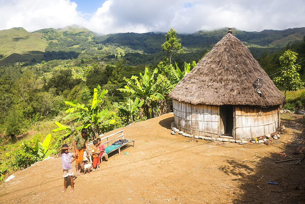 Traditional house in the mountains of Maubisse, East Timor, Southeast Asia, Asia
