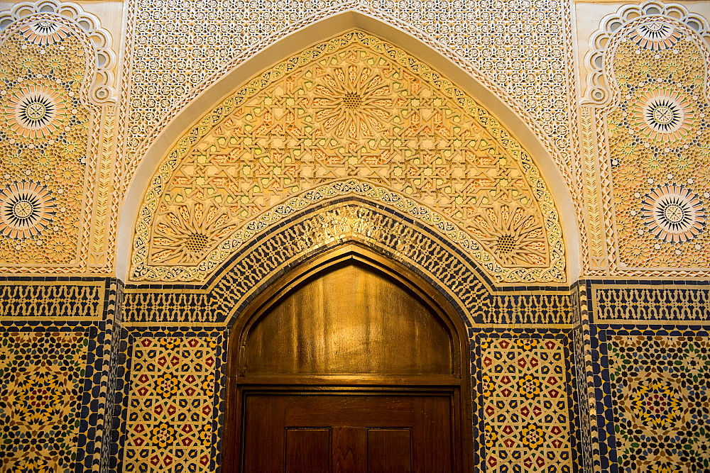 Beautiful ornamented door inside the Grand Mosque, Kuwait City, Kuwait, Middle East