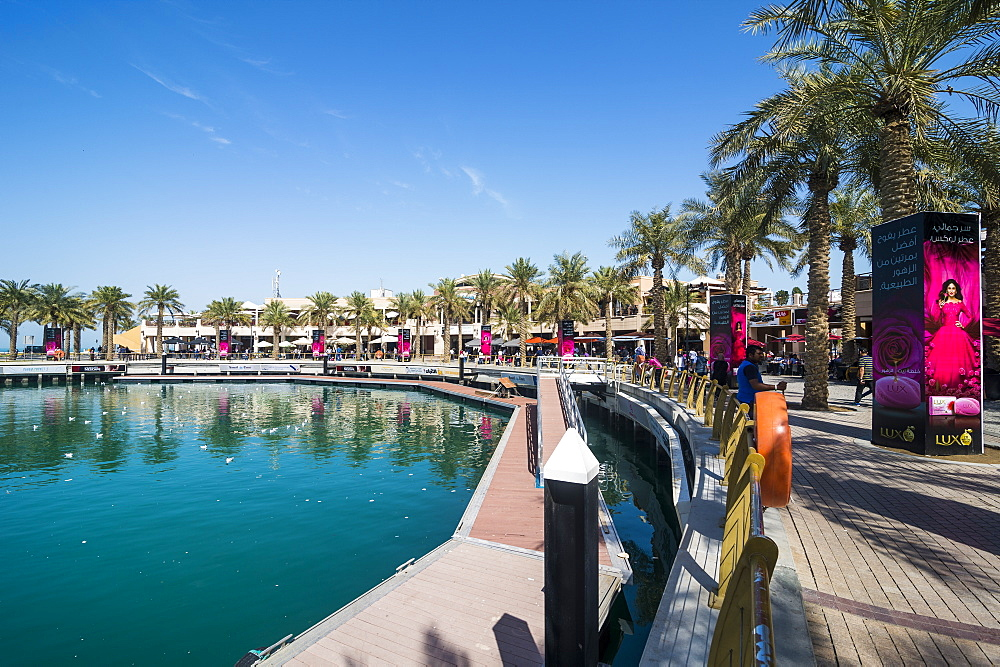 Palm fringed walkway on Marina Mall, Kuwait City, Kuwait, Middle East