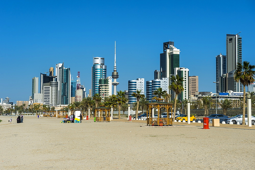 Shuwaikh beach and skyline of Kuwait City, Kuwait, Middle East