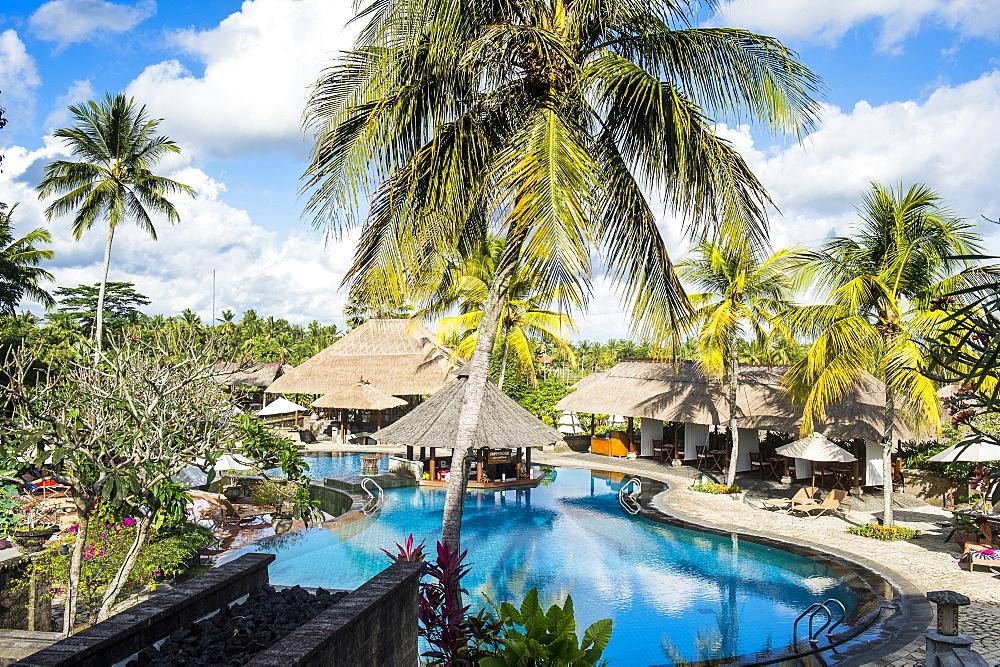 Beautiful swimming pool, Kamandalu Ubud resort, Ubud, Bali, Indonesia