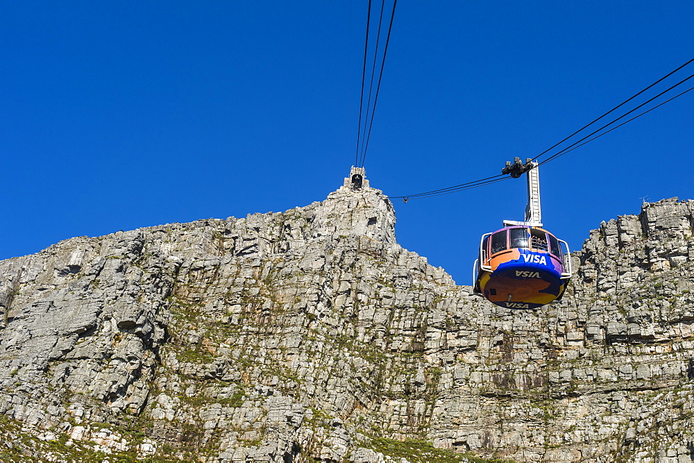 Cable car leading up to Table Mountain, Cape Town, South Africa, Africa