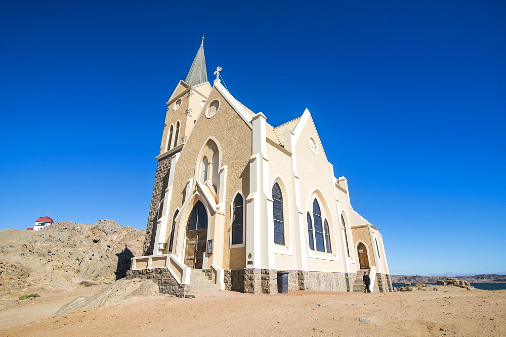 Famous Felsenkirche, a colonial church, Luederitz, Namibia