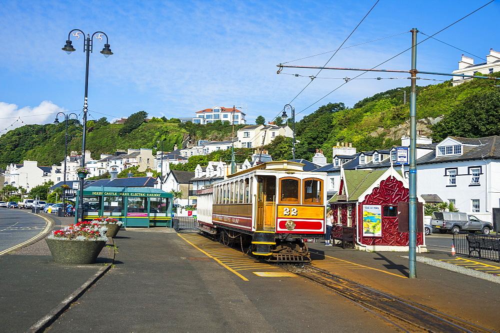 Old tram in Douglas, Isle of Man, crown dependency of the United Kingdom