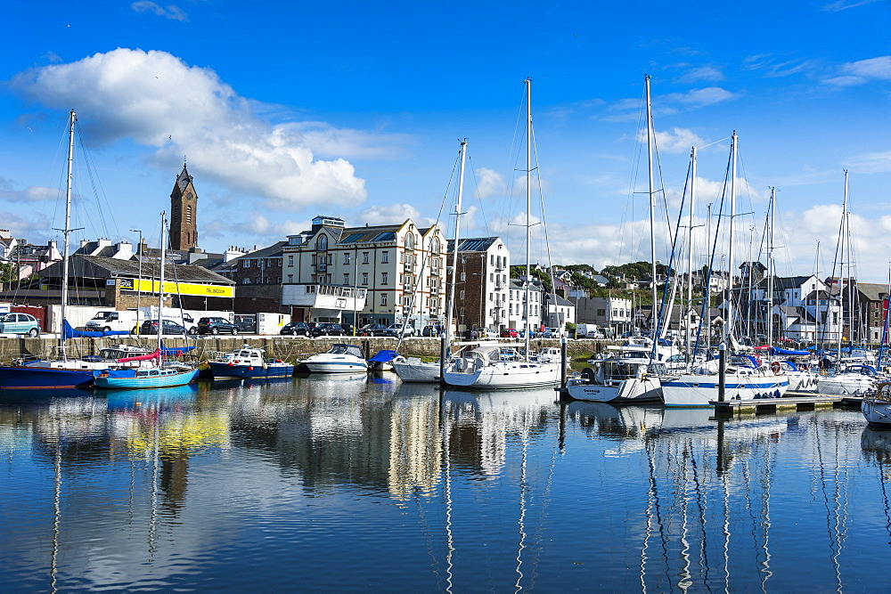 The town of Peel with its picturesque harbour, Peel, Isle of Man, United Kingdom