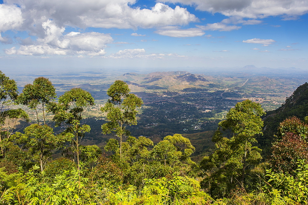 View over Zomba and the highlands from the Zomba Plateau, Malawi, Africa