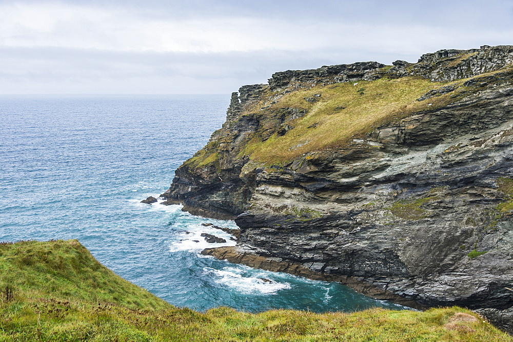 Tintagel Castle on Tintagel island, Cornwall, England, United Kingdom