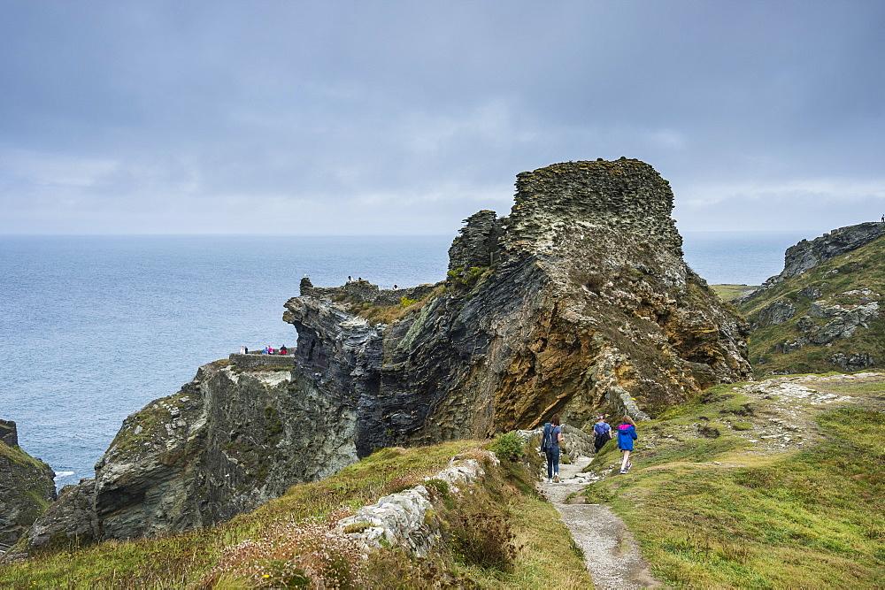 Tintagel Castle on Tintagel island, Cornwall, England, United Kingdom