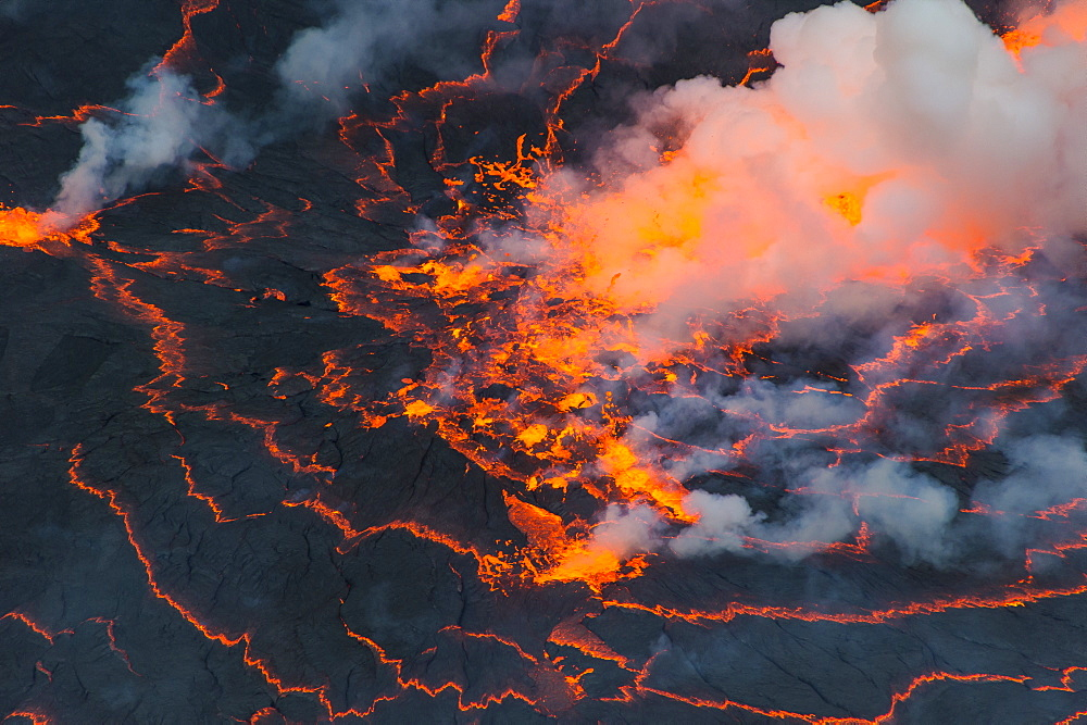 The very active lava lake of Mount Nyiragongo, Virunga National Park, UNESCO World Heritage Site, Democratic Republic of the Congo, Africa