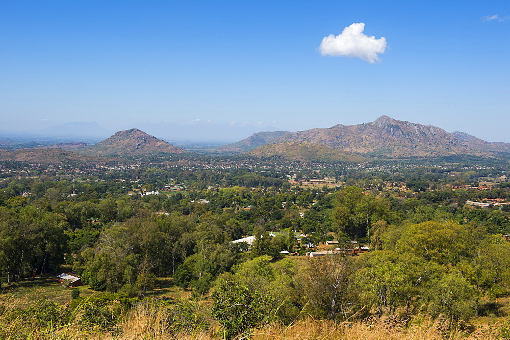 View over Zomba from the Zomba Plateau, Malawi, Africa