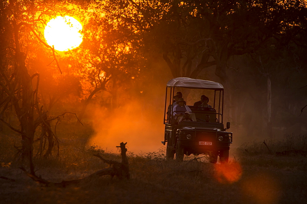 Jeep in backlight at sunset, South Luangwa National Park Zambia, Africa