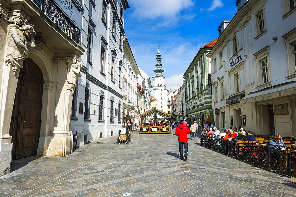 Pedestrian zone in the center of Bratislava with Michael's Gate in the background, Bratislava, Slovakia, Europe