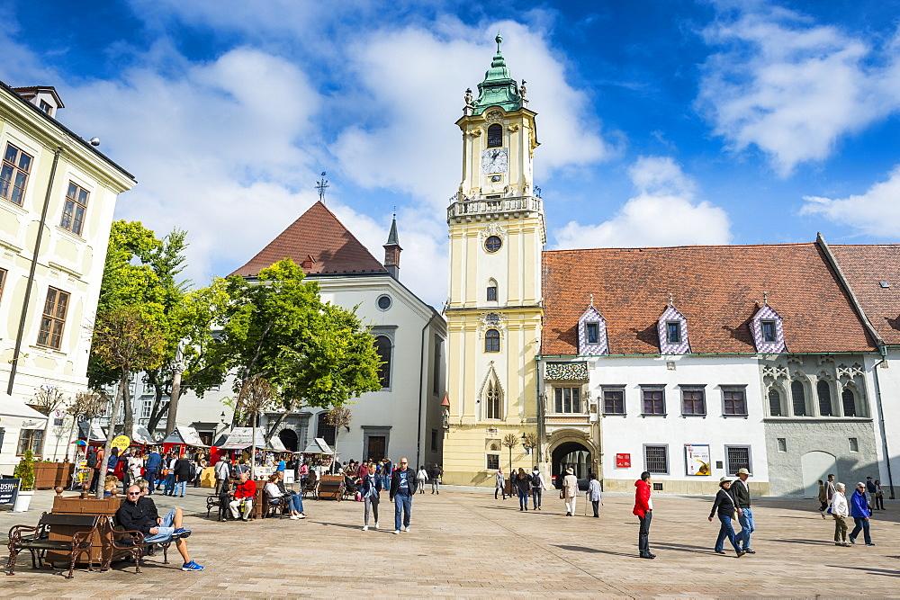 Old town hall on Hlavne Namestie square, Bratislava, Slovakia, Europe