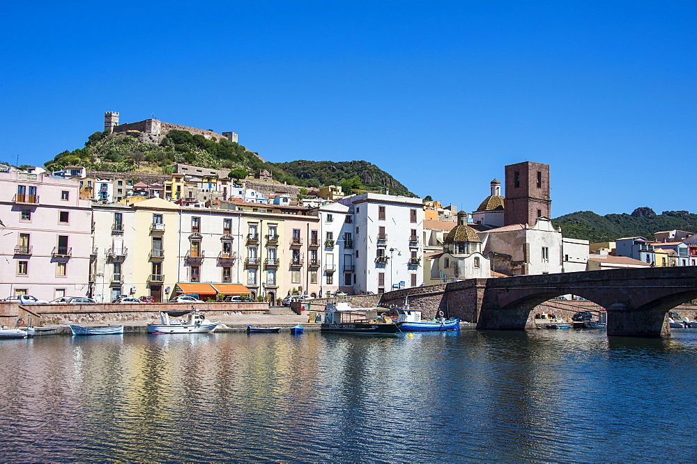 The town of Bosa at the river Temo , Sardinia, Italy - 1184-1708