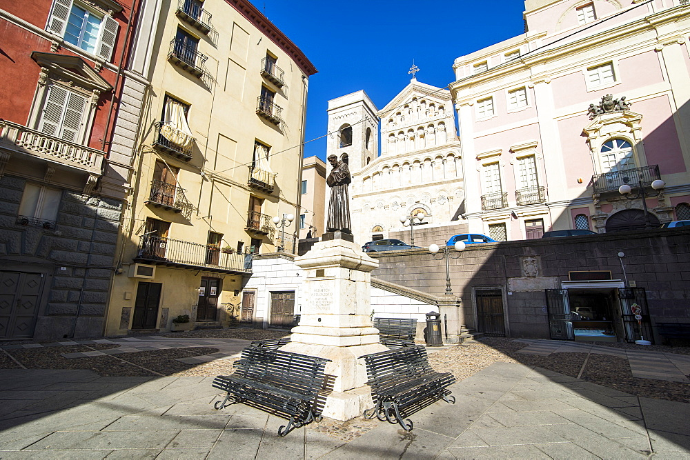Carlo Alberto square in front of the cathedral of Cagliari, Sardinia, Italy, Europe
