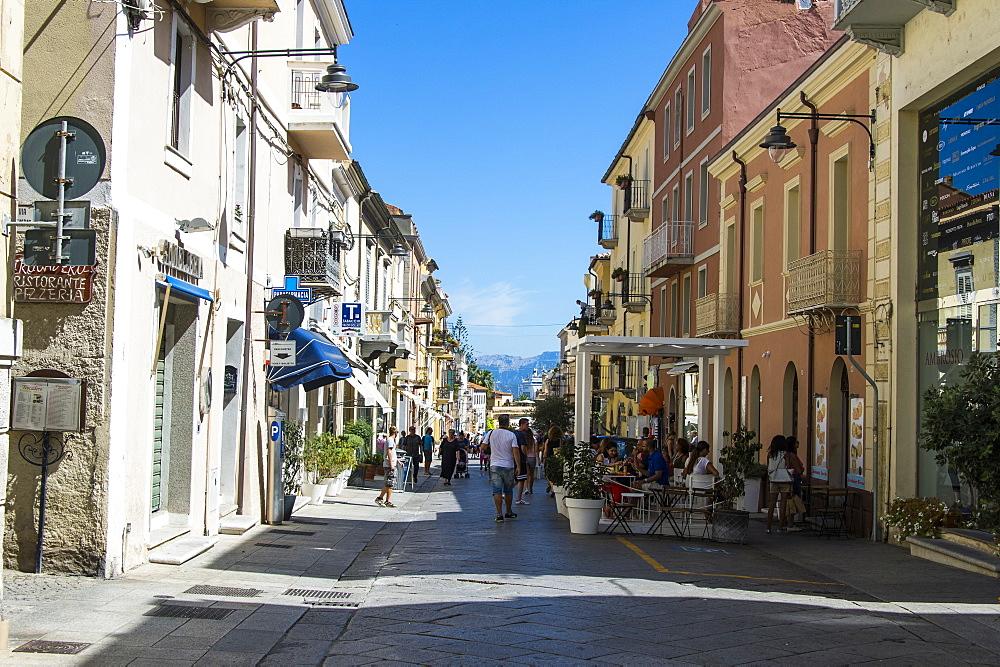 Pedestrian zone of Olbia, Sardinia, Italy, Mediterranean, Europe