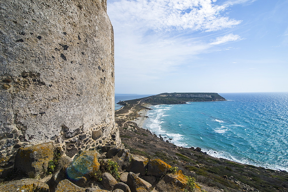 View over Cape San Marcos and San Giovanni tower, Tharros, Sardinia, Italy, Mediterranean, Europe
