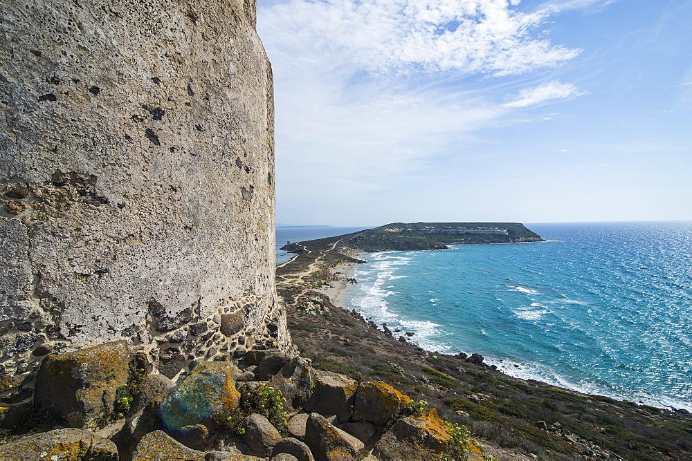 View over Cape San Marcos and San Giovanni tower, Tharros, Sardinia, Italy, Mediterranean, Europe