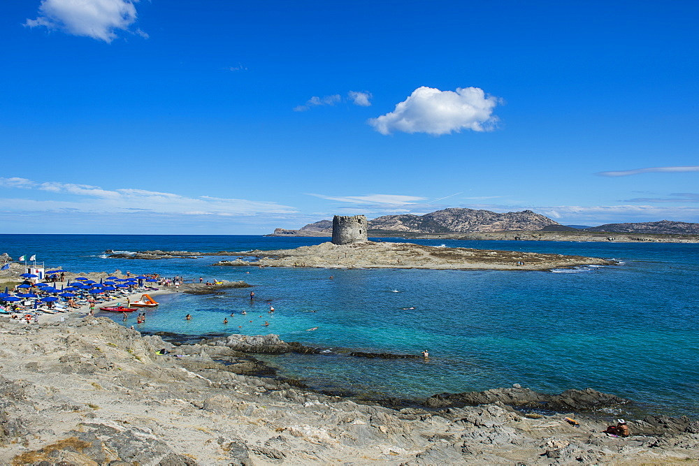 Old watchtower on the beach, Pelosa, Sardinia, Italy, Mediterranean, Europe