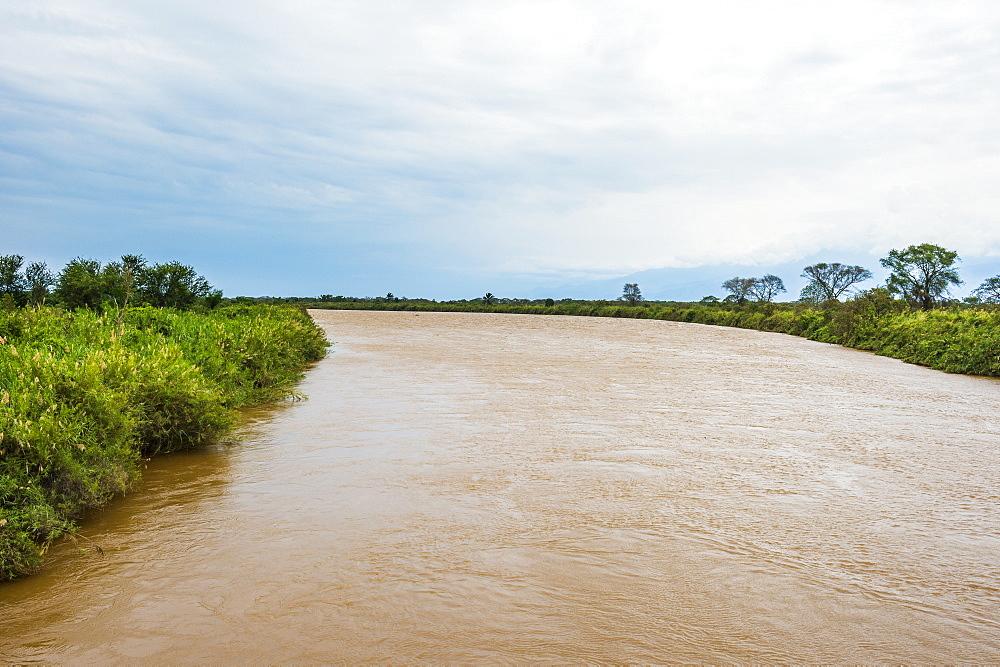 Rusizi River flowing in Lake Tanganyika, Bujumbura, Burundi, Africa