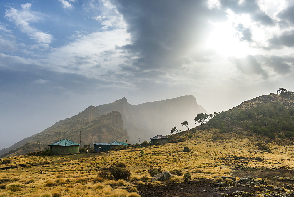 Sun setting over the Unesco world heritage sight Semien or Simien mountains national park, Debarq, Ethiopia - 1184-1754