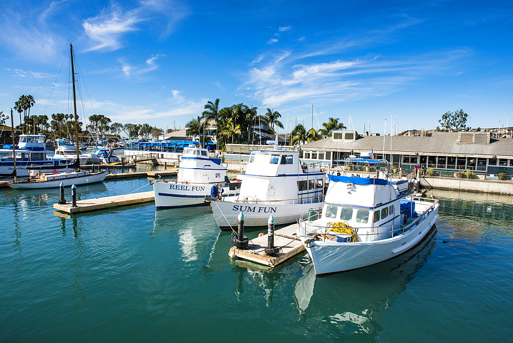 Harbour of Dana point, ferry point to Santa Catalina Island, California, USA