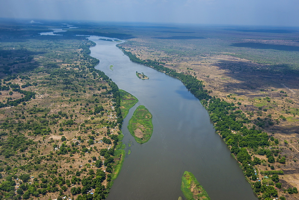 Aerial of the White Nile River, Juba, South Sudan, Africa