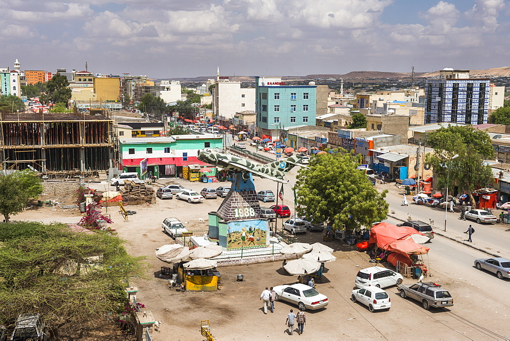 View over Hargeisa with an old MIG airplane in the center, Somaliland, Somalia, Africa