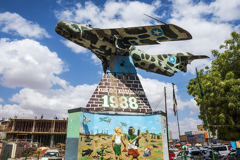 Old Russian MIG airplane in the center of Hargeisa, Somaliland, Somalia, Africa