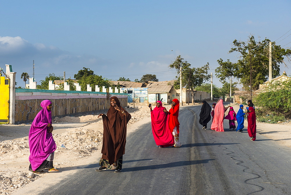 Colourfully dressed Muslim women in the coastal town of Berbera, Somaliland, Somalia, Africa