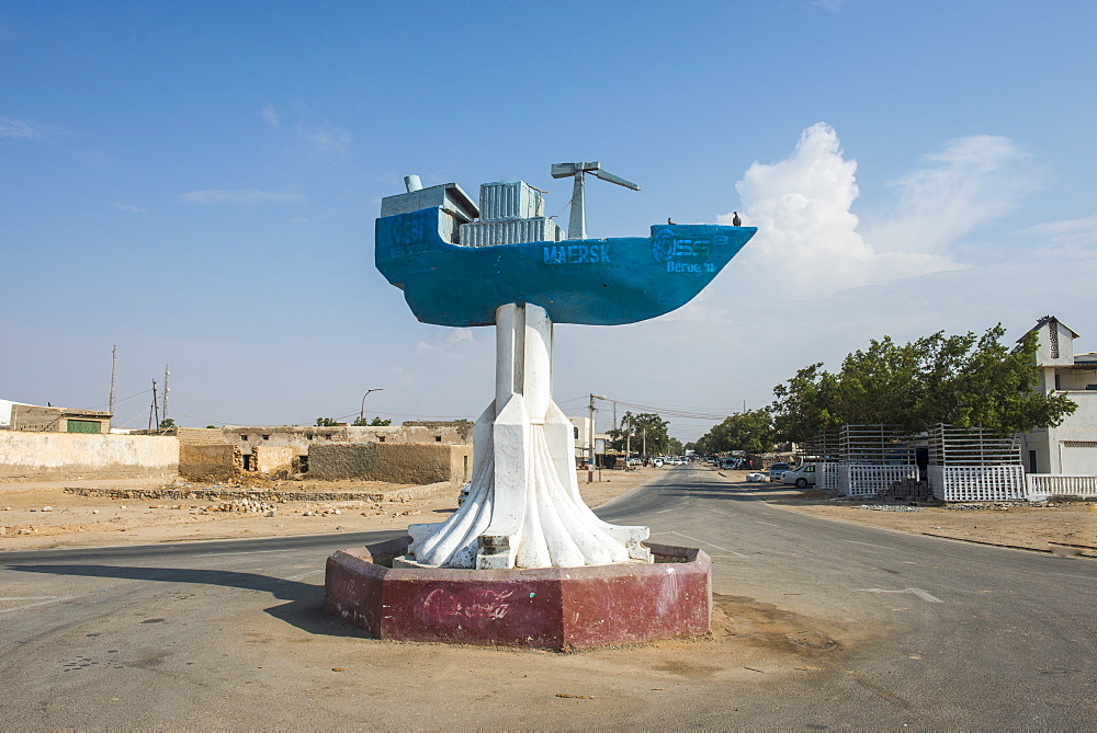 Cargo ship monument in the coastal town of Berbera, Somaliland, Somalia, Africa