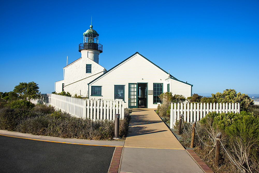 Old Point Loma lighthouse on the Cabrillo National Monument, Point Loma, San Diego, California, United States of America, North America