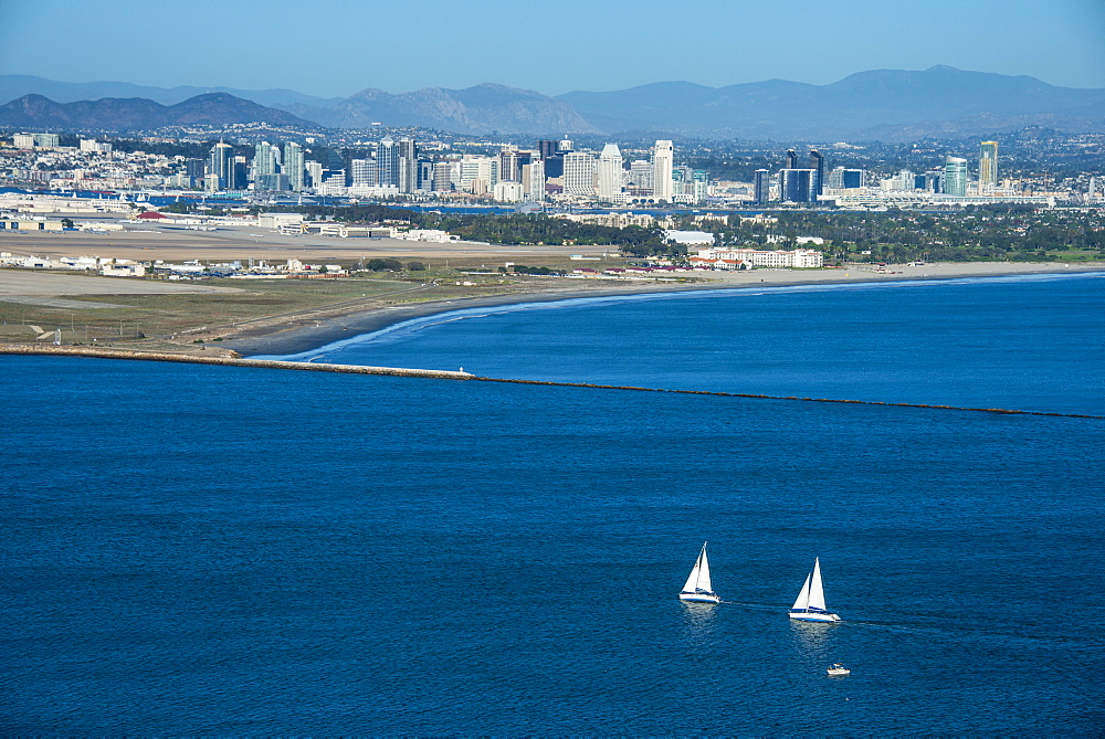 View over San Diego Bay from the Cabrillo National Monument, Point Loma, San Diego, California, United States of America, North America