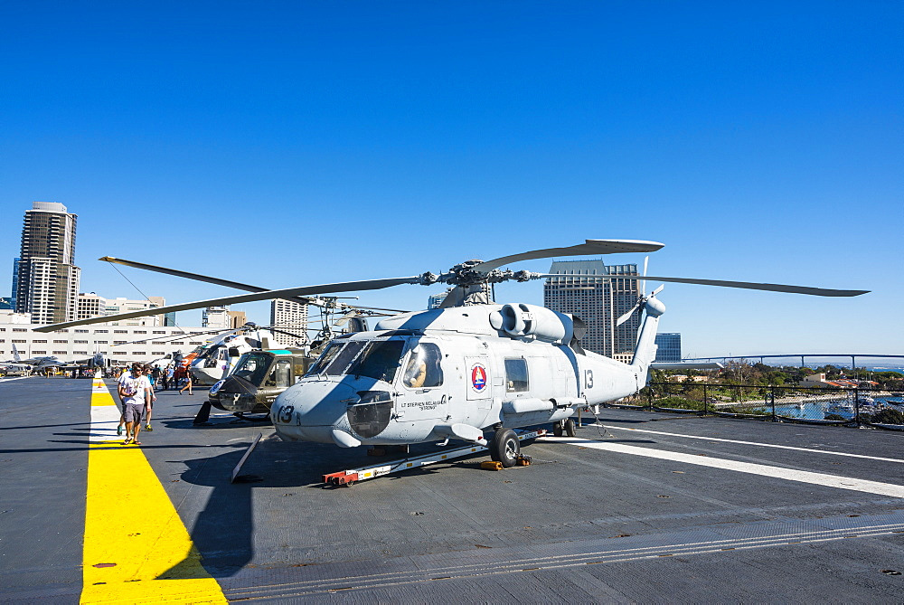 Helicopters on deck of the USS Midway Museum, San Diego, California, United States of America, North America