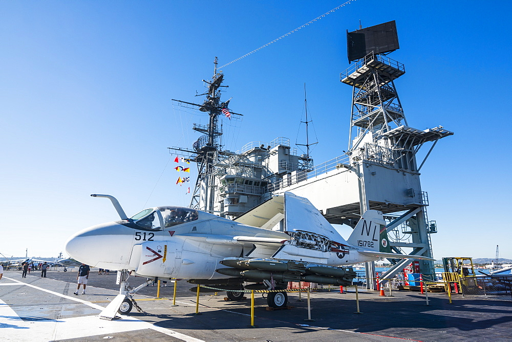 Fighter jet on deck of the USS Midway Museum, San Diego, California, United States of America, North America
