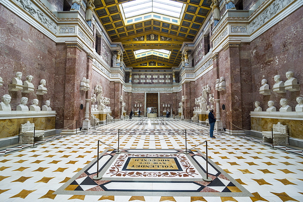 Interior of the Neo-classical Walhalla hall of fame on the Danube. Bavaria, Germany, Europe