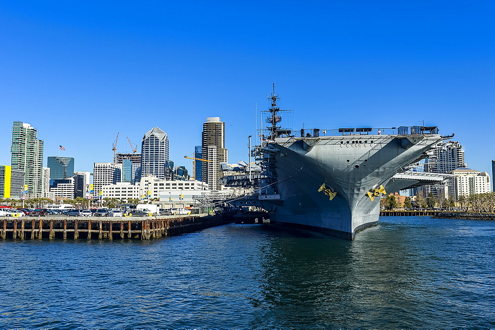 Skyline of San Diego with USS Midway, Harbour of San Diego, California, United States of America, North America