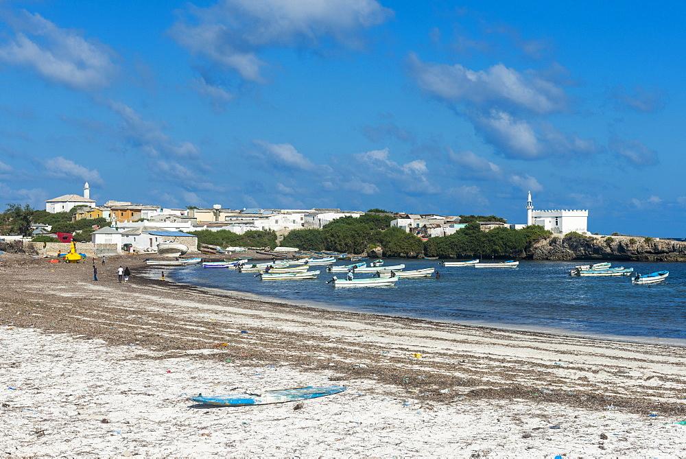 The town of Jazeera at the end of Jazeera beach, Somalia, Africa