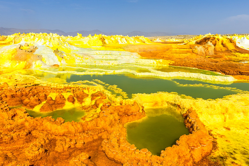 Colourful spings of acid in Dallol, hottest place on earth, Danakil depression, Ethiopia, Africa - 1184-1850