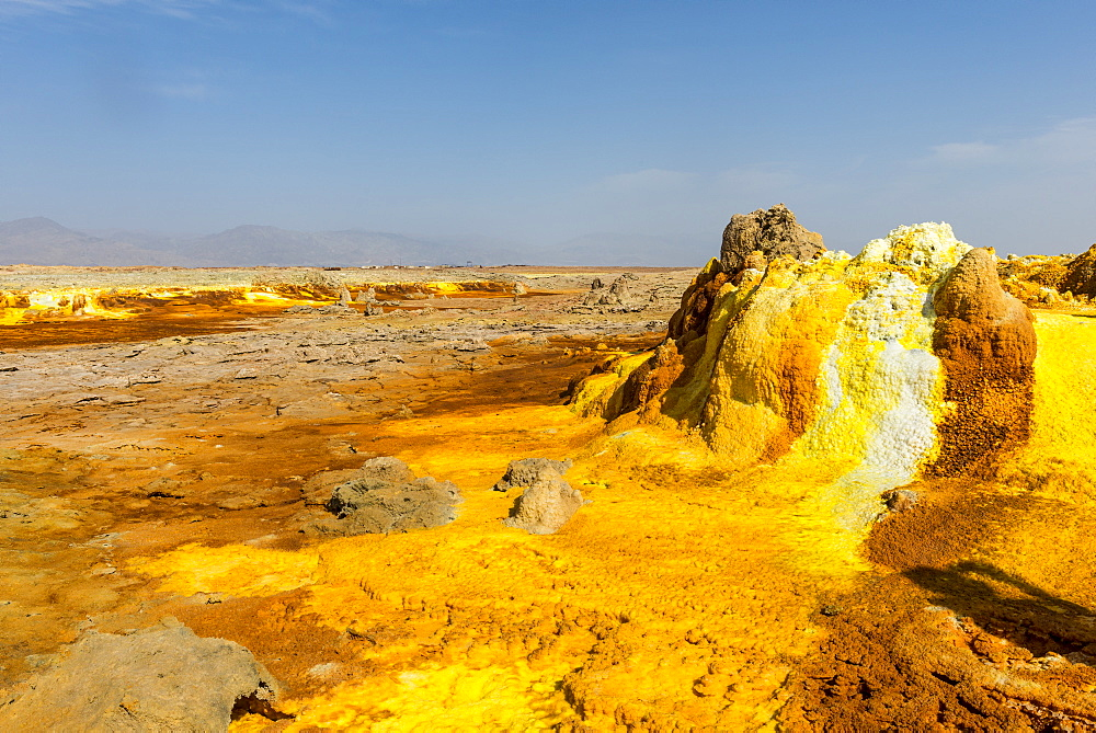 Colourful spings of acid in Dallol, hottest place on earth, Danakil depression, Ethiopia, Africa - 1184-1852