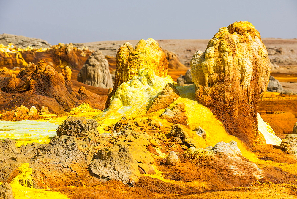 Colourful spings of acid in Dallol, hottest place on earth, Danakil depression, Ethiopia, Africa - 1184-1855